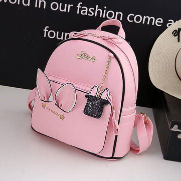 Women Cartoon PU Waterproof Cute Embroidered Backpack