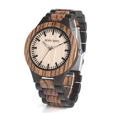 BOBO BIRD N28N30 Classic Full Wood Wrist Watch Wood Strap Quartz Couple Watch