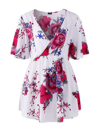 M-5XL Floral Print V-neck Short Sleeves Blouse