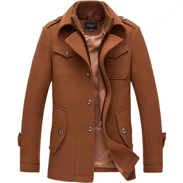 Mens Winter Business Casaco Trench Single-breasted Casaco Turn-down Casaco Casual Overcoat