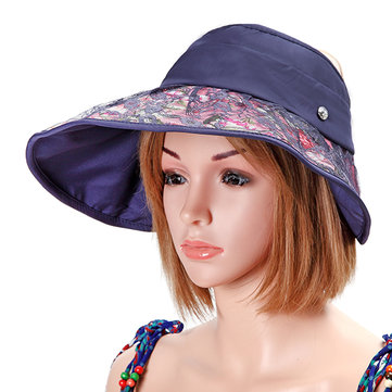 Women Foldable Empty Top Beach Hat Outdoor Travel Wide Brim Sunscreen Visor Hat