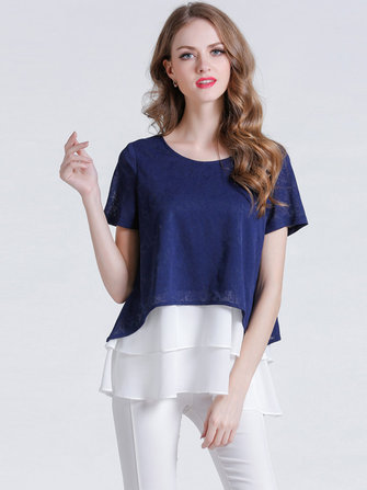 Women Fake Two-Piece Jacquard Chiffon Patchwork O-Neck Short Sleeve Blouse