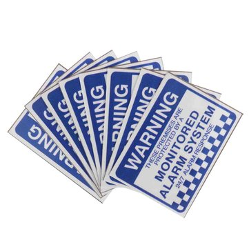 8pcs Alarm System Monitored Warning Security Stickers Waterproof Security Sign