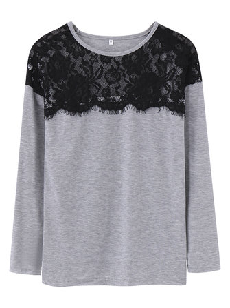 Casual Women Patchwork Lace O-Neck Long Sleeve Solid T-Shirt
