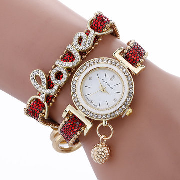 Fashion Luxury Women Love Word Leather Strap Quartz Watch
