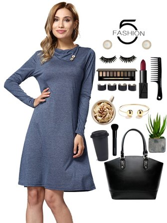 Blauw Casual Women Long Sleeve Los Basic Dress