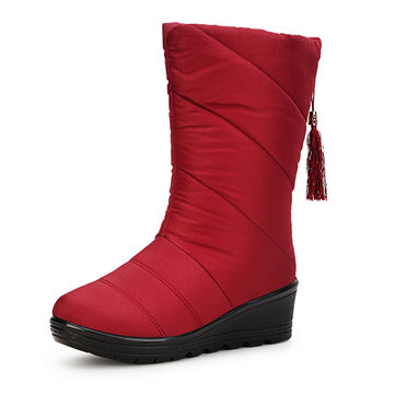 New Women Winter Keep Warm Thickening Fashion Wedge Down Feather Snow Boot Mid-Calf Boots