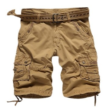 Men Cotton Cargo Pants Casual Loose Big Pocket Trousers Pure Color Cargo Shorts 5 Colors