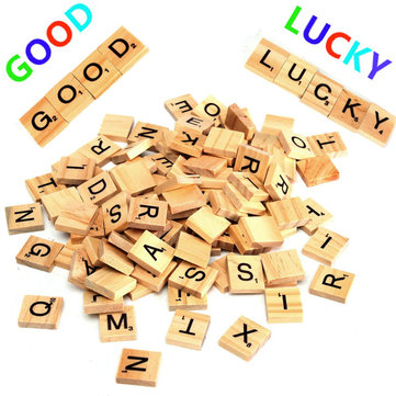 100pcs Wooden Scrabble Letters Scrapbooking Playing Game IQ Props Word