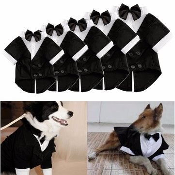 Big Pet Dog Cat Clothes Big Dog Bow Tie Shirt Wedding Suit Clothes Costume Collared Shirt Jumpsuit