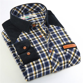 Mens Gingham Casual Fashion Plaid Slim Collier à manches longues à manches longues