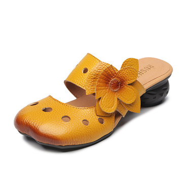 Retro Leather Hollow Out Backless Flower Sandals