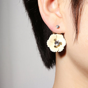 JASSY® Jacket Solid Flower Earrings Gold Plated Ear Stud