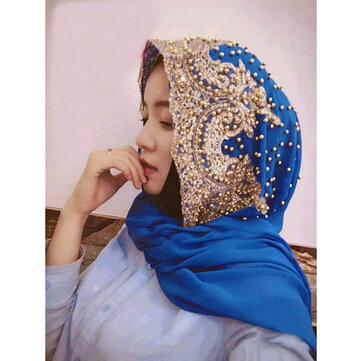Women Chiffon Beaded Headband Scarf Arabian Hat Arab Wrap Scarf Turban Hat Shawl