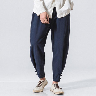 Men's Casual Baggy Cotton Linen Harem Pants