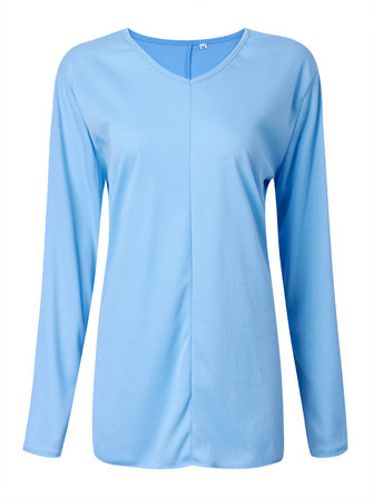 Asymmetrical Loose Blue Long Sleeve V Neck Women T-Shirt