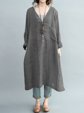 Vintage Women Cotton Linen V-Neck Long Sleeve Button Dress