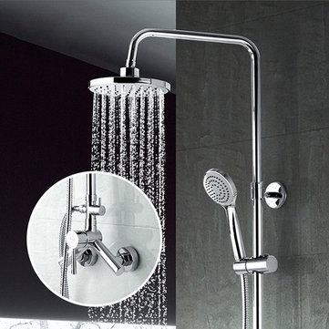 FRAP F2409 Bathroom Wall Mounted Single Handle Round Spray Rainfall Top Shower with Handheld Shower Head Adjustable Shower Mixer