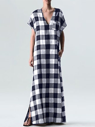 Plus Size Women Plaid V-neck Short Sleeve Maxi Dress