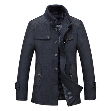 Mens Business Winter Thick Warm Stand Collar Woolen Coat