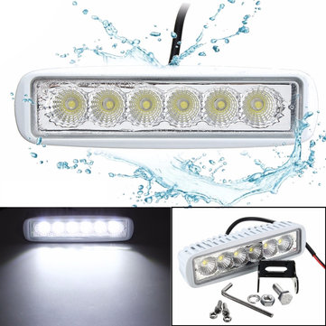 12V 6 LED Spreader Marine Flood Work White Light For Boat Yacht Motorcycle Truck Car