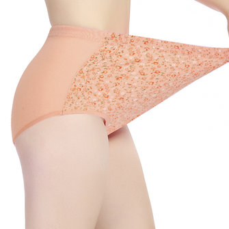 Women Sexy Floral Breathable Panties High Waist Soft Cotton Underwear