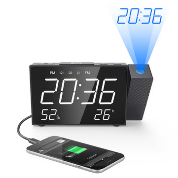 Projection Alarm Clock Digital FM Radio Dual Alarm Volume Snooze Time Humidity Temperature DisPlay