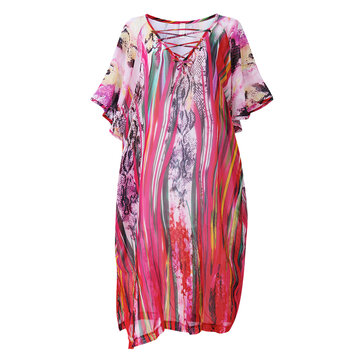 V-Neck Printed Side Split Summer Chiffon Beach Dress