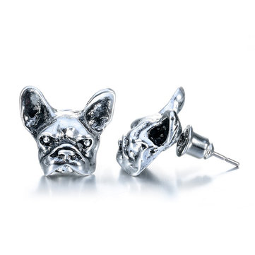 Unisex Lovely Bulldog Gold Color Pet Animal Ear Stud