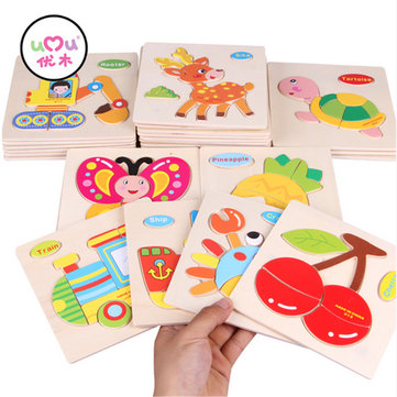 Umu Wooden 3D Jigsaw Puzzle Toy Kids Children Cartoon Animal Puzzle Gift Intelligence Toys