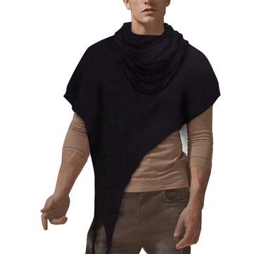 Men's Loose High Collar Irregular Design T-shirts