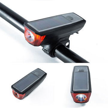 XANES BL03 750LM T6 LED 4 Modes 2000mAh Lithium Battery USB/ Solar Charging Power Bank Bike Front Light With 140db Tweeter