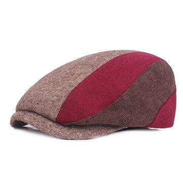Winter Cotton Thicken Literary Beret Hat Autumn And Winter Plaid Newsboy Cap Forward Caps