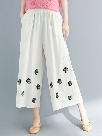 Women Vintage Embroidery Wide Leg Loose Pants