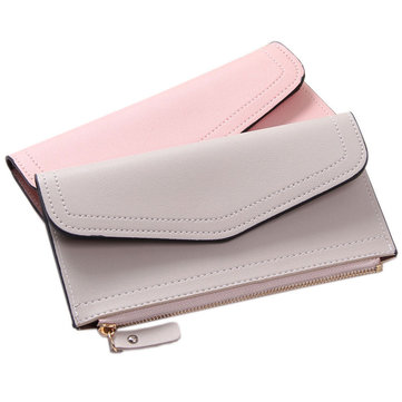 Women Vintage Card Phone Storage Bag PU Leather Zipper Wallet Purse Handbag