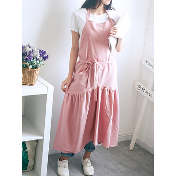 Vintage Japanese Cotton Linen Solid Color Pleated Aprons