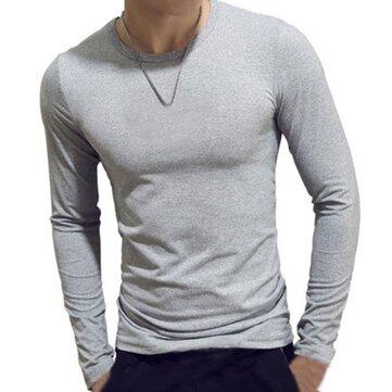 INCERUN Mens Elastic Cotton Slim Long Sleeve T-Shirt Solid Color O-neck Base Shirt