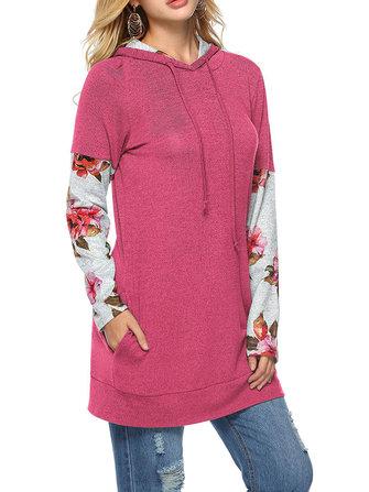 Casual Women Floral Print Patchwork Long Sleeve Hooded Sweatshirt