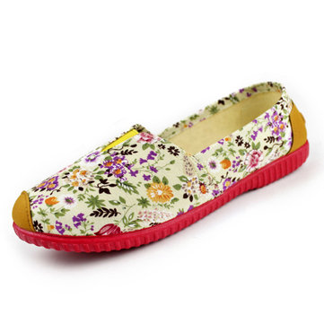 Women Flower Loafers Slip On Cloth Casual Flats