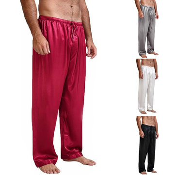 INCERUN Mens Faux Silk Satin Pajamas Bottoms Casual Loose Yoga Trousers Sleepwear
