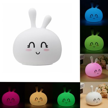 USB RGB Rechargeable Cute Silicone LED Night Light Tap Touch Atmostphere Light for Kid Sleeping