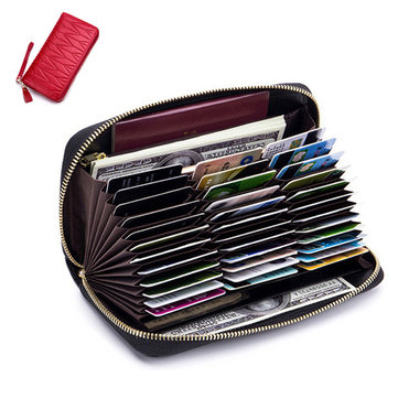 Women RFID Antimagnetic Genuine Leather Multi-slots 36 Card Slots Card Holder Long Wallet