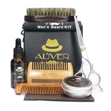 1 Set X Beard Balm Shaving Kit Mustache Oil Brush Manual Hair Cutting Scissors with Combs