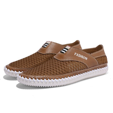 Men Casual Slip On Hollow Out Shoes In Mesh Leather