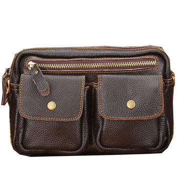 Men Cowhide Genuine Leather Multifunctional Waist Messenger Crossbody Bag