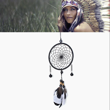 Handmade Black Bell Dream Catcher With Black Feathers Mysterious Wind Bell Gift Home Decor Handmade Feather Wall Hanging Decorations Ornament