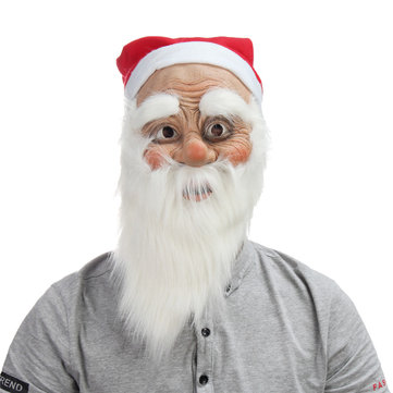 Christmas Party Home Decoration Santa Claus Face Mask With Beard Cosplay Toys Props