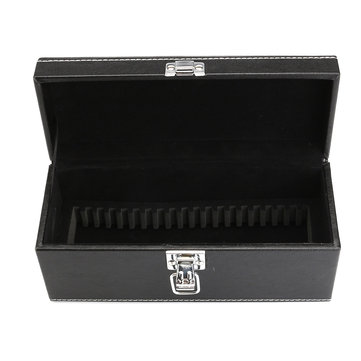 Storage Box Case Coin Holder Black PU Leather for Slab Certified Coin 20Pcs Capsules