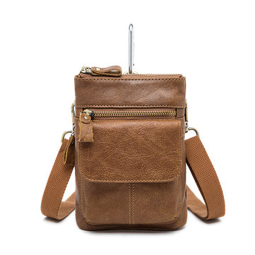 Genuine Leather Waist Bag First Layer Leather Leisure Retro Phone Bag Crossbody Bag For Men