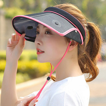 Women Summer Outdoor UV Protection Empty Top Hat Retractable Sunscreen Visor Hat